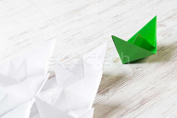 Negócio branco cor papel barcos Foto stock © adam121