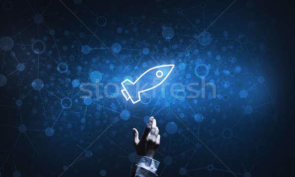 Technológia ötlet izzó rakéta ikon megérint Stock fotó © adam121