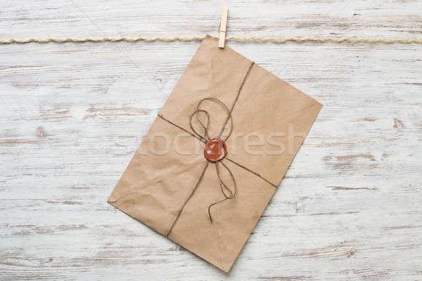 Mail envelop touw opknoping houten papier Stockfoto © adam121