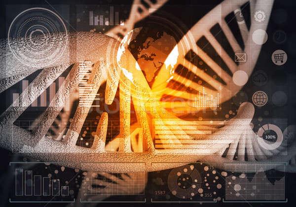 DNA鑑定を 分子 背景 画像 コンピュータ 薬 ストックフォト © adam121