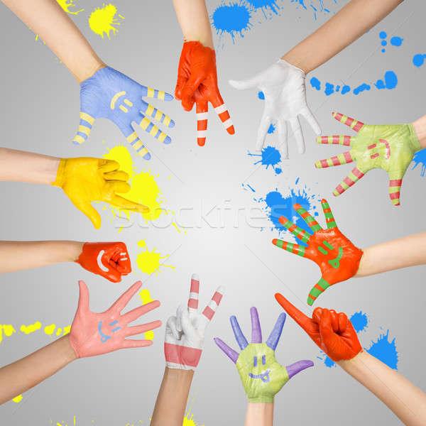 painted children's hands Stock photo © adam121