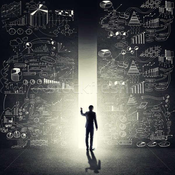 Szemben új lehetőségek hátsó nézet üzletember áll Stock fotó © adam121