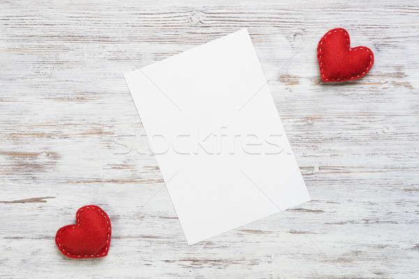 Liefde bericht uitnodiging harten vel blanco papier Stockfoto © adam121