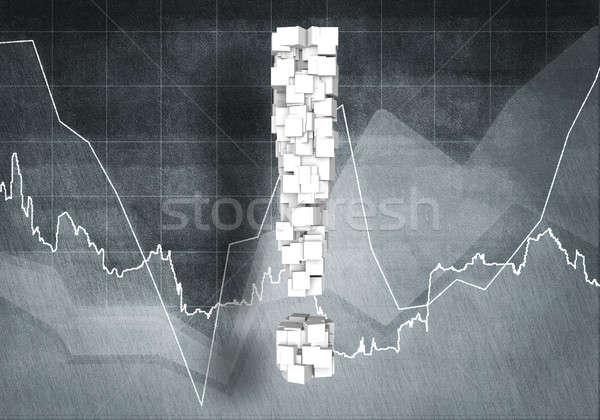Kérdés pénzügyi növekedés nagy felkiáltójel grafikonok Stock fotó © adam121
