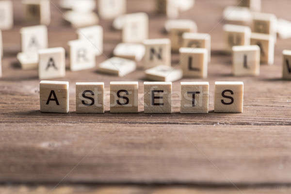 word assets of wooden elements with letters Stock photo © adam121
