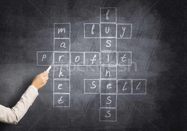 Scribble Drawing Crossword : Kobieta · zwrócić krzyżówka studia tablicy zdjęcia