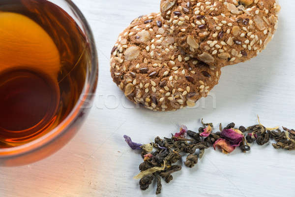 Idő csésze tea gyógynövény tea gyógynövények sütik Stock fotó © adam121