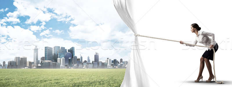 Apertura blanco cortina moderna Foto stock © adam121