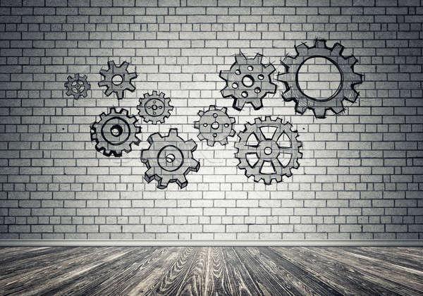 Viselet mechanizmus csapatmunka kézzel rajzolt szürke fal Stock fotó © adam121