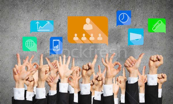 Conjunto mão gestos ícones muitos mãos Foto stock © adam121