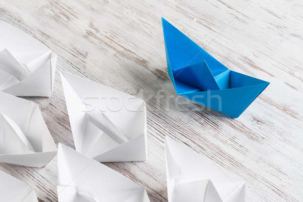 Iş ayarlamak origami tekneler ahşap masa Stok fotoğraf © adam121