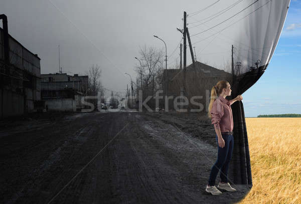 Stockfoto: Jonge · vrouw · gordijn · afbeelding · veld