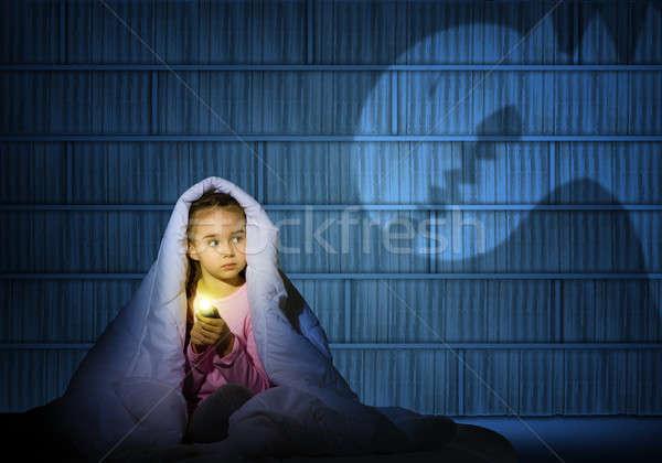 Kız el feneri görüntü gece hayaletler Stok fotoğraf © adam121