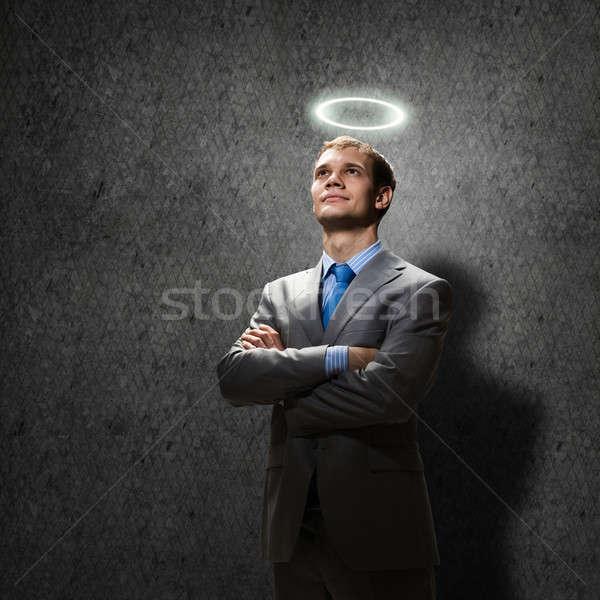 Aziz işadamı genç yakışıklı hale üzerinde Stok fotoğraf © adam121