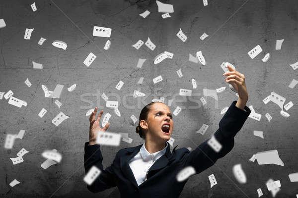 ストックフォト: 積極的な · 管理 · 小さな · 女性実業家 · 悲鳴 · 携帯電話