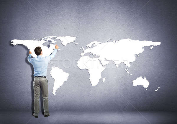 Foto stock: Global · interacción · empresario · pie · atrás · continentes