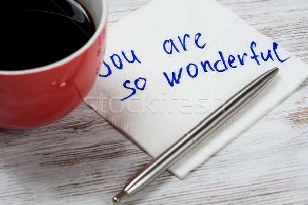 Mesaj yazılı peçete fincan kahve kalem Stok fotoğraf © adam121
