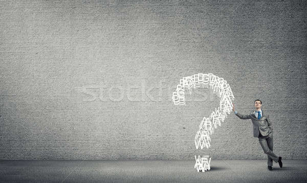 Man and big question mark Stock photo © adam121