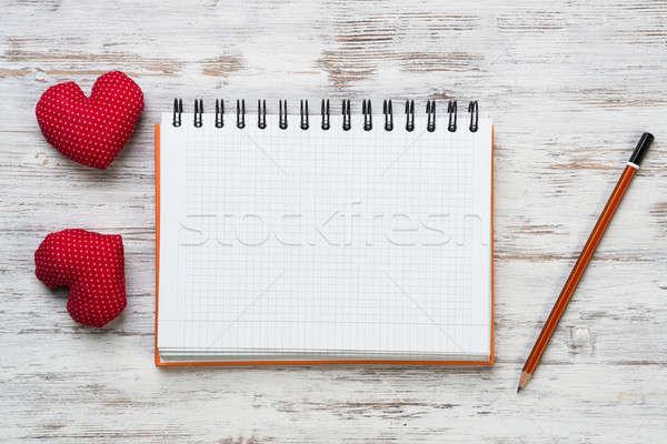 ストックフォト: 愛 · メッセージ · 招待 · 心 · 帳 · 鉛筆