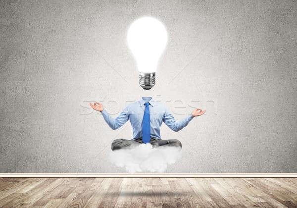 üzletember megnyugtató vár inspiráció ül lótusz Stock fotó © adam121