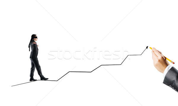 Concept of risk and difficulty with blind businessman steping carefully Stock photo © adam121