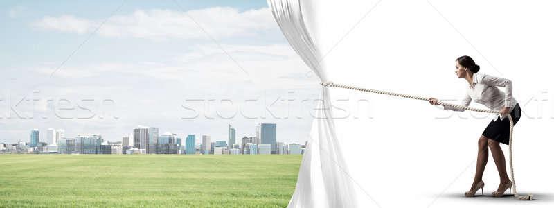 открытие белый занавес современных Сток-фото © adam121