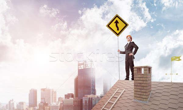 Bay patron tuğla çatı imzalamak eller Stok fotoğraf © adam121