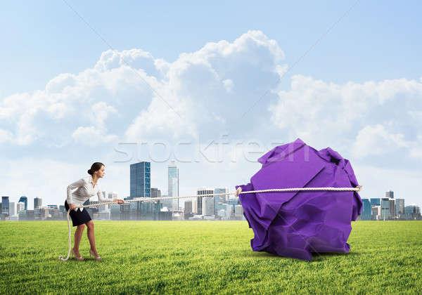 женщину усилие большой мяча бумаги Сток-фото © adam121