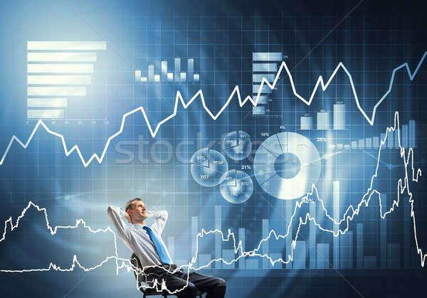 Nyugodt üzletember szék fiatal ül kezek Stock fotó © adam121