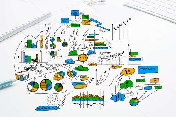 Stockfoto: Plan · winstgevend · business · kleur · schets