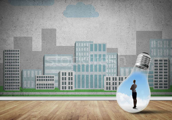 女性実業家 閉じ込められた 電球 電球 市 ストックフォト © adam121