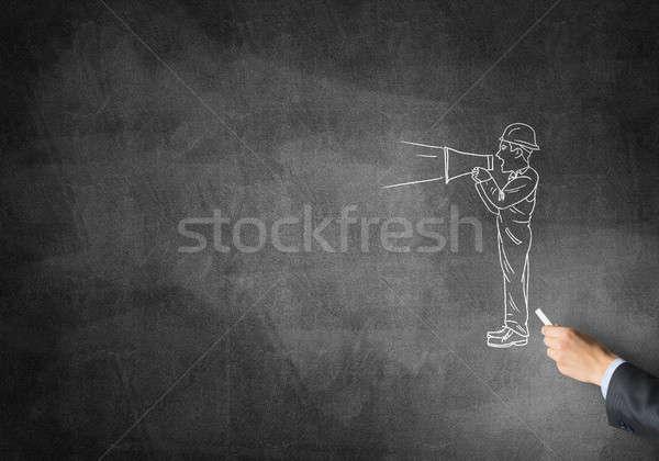 Karykatura budowniczy człowiek mężczyzna strony rysunek Zdjęcia stock © adam121