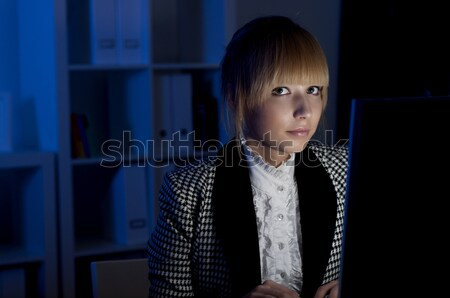 Ofis işleri gece güzel genç kadın doktor çalışma Stok fotoğraf © adam121