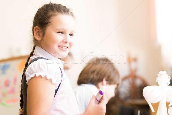Portret asian dziewczyna fartuch malarstwo sztuki Zdjęcia stock © adam121