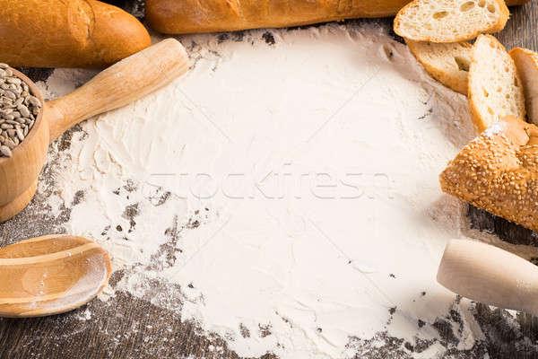 小麦粉 白パン 木製 表面 木材 ストックフォト © adam121