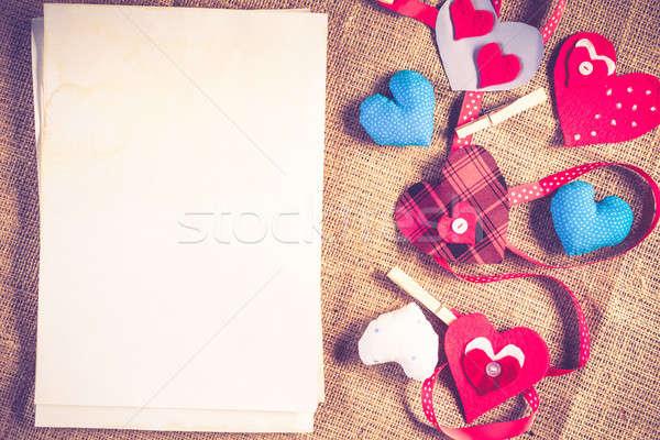 Doe het zelf briefkaart handgemaakt liefde harten blanco papier Stockfoto © adam121
