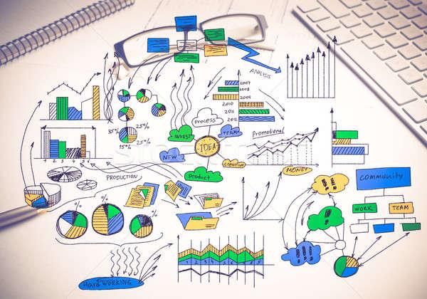 Plan rentowny działalności kolor strategia biznesowa szkic Zdjęcia stock © adam121