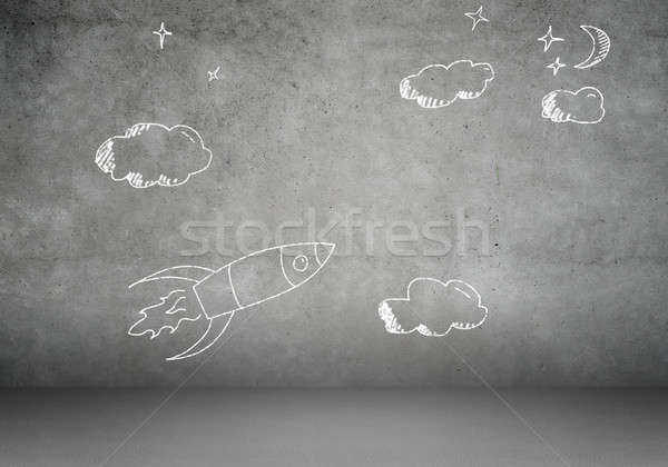 Background image with flying drawn rocket Stock photo © adam121