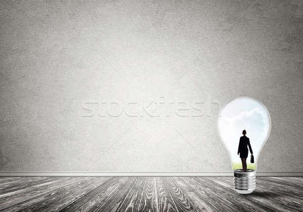 Kobieta interesu uwięzione żarówki wewnątrz żarówka pusty Zdjęcia stock © adam121