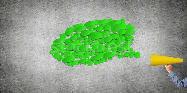 手 女性 緑 紙 トランペット ストックフォト © adam121