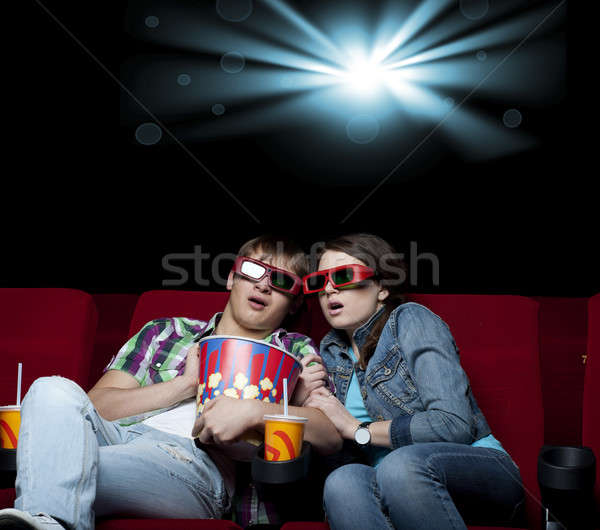 Paar Kino Film Theater beobachten 3D Stock foto © adam121