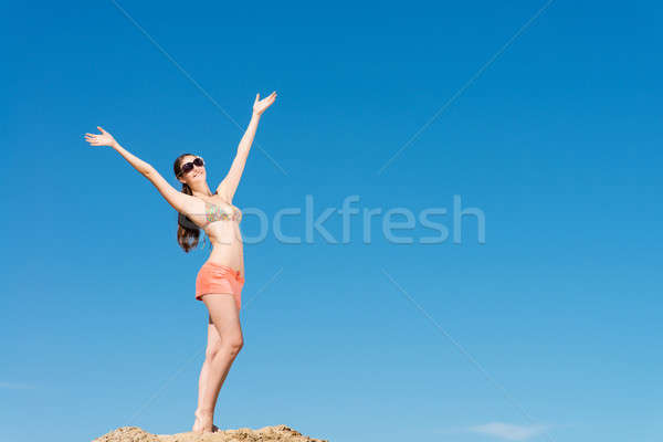 beautiful woman spread her arms Stock photo © adam121