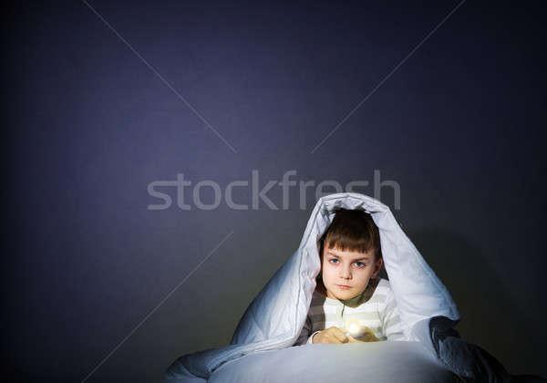 少年 懐中電灯 画像 驚いた 子供 死 ストックフォト © adam121
