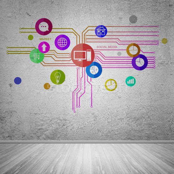 Felhasználó interfész csoport színes alkalmazás ikonok Stock fotó © adam121