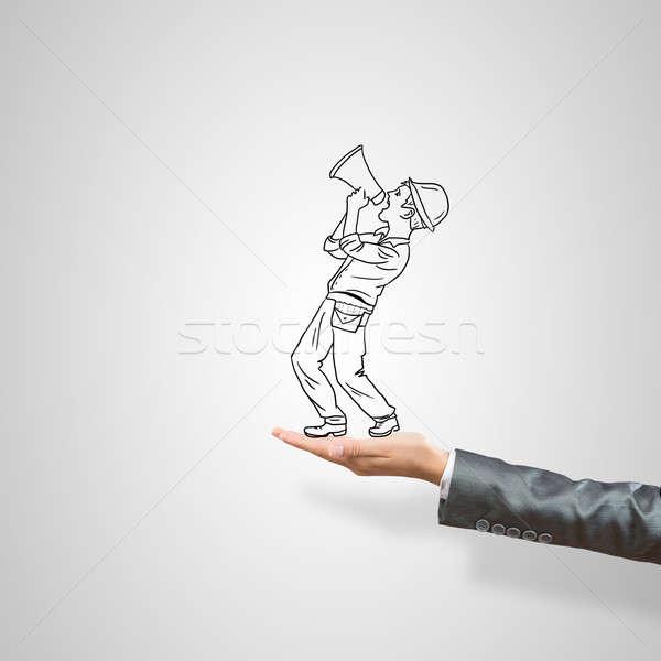 üzletember pálma rajzolt női szürke építkezés Stock fotó © adam121