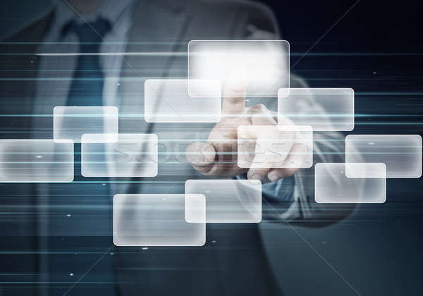 Сток-фото: виртуальный · интерфейс · стороны · бизнесмен · прикасаться · ячейку