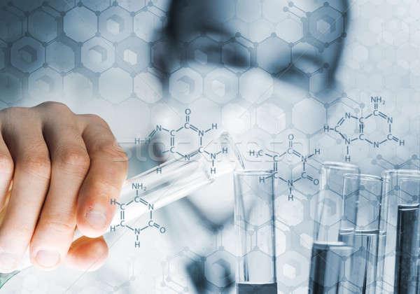 Fiatal tudós üveg flaska klinikai laboratórium Stock fotó © adam121