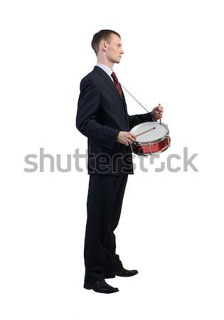 üzletember játszik dobok vicces izolált fehér Stock fotó © adam121