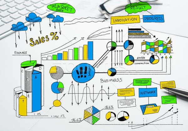 Plan winstgevend business kleur schets Stockfoto © adam121