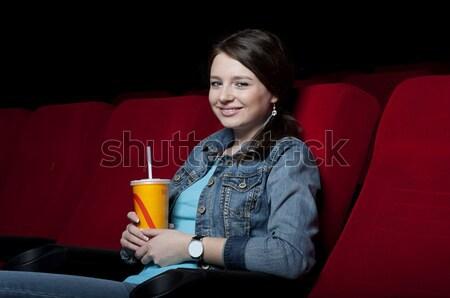 Film tiyatro patlamış mısır bakıyor yüz Stok fotoğraf © adam121